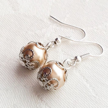 Champagne Gold Pearl Earrings Bridesmaid Earrings Gold Pearl Jewelry Bridesmaid Gift Wedding
