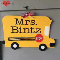 Teacher Sign, Bus Name Sign, School Bus Sign, Classroom Sign, Personalized Teacher Sign, Bsck to School, New Teacher Gift, School Sign, Bus