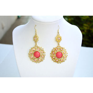 Pink Rhinestone Filigree Chandelier Earrings