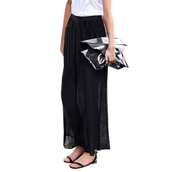 2017 Summer Women Chiffon Casual Losoe Long Wide Leg Pants Oversized Lined High Elastic Waist Solid Trousers Plus Size Slacks