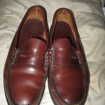 Vintage 1970s oxblood Slip On Penny Loafers Moccasin Shoes Leather Dexter Made USA Men's 8 1/2 m