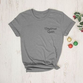 Christmas Queen T-Shirt Merry Christmas Slogan Holiday Tee Women Vintage Santa Shirt Cotton Grunge Outfits Aesthetic Drop Ship