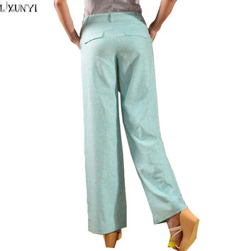LXUNYI New Literature Loose Cotton Linen Pants Women 2017 Summer Thin Woman High Waist Straight Pants Big Size Casual Trousers