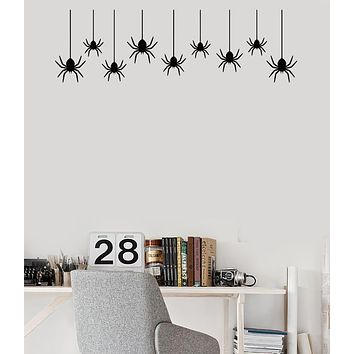 Vinyl Wall Decal Halloween Party Decor Spiders Spider Web Stickers (3649ig)