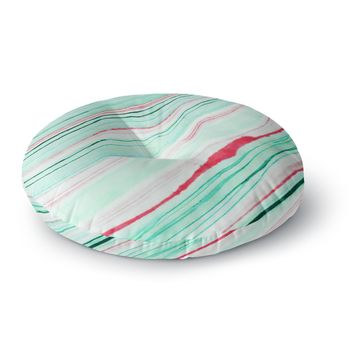 "83 Oranges ""Lines"" Green Magenta Mixed Media Round Floor Pillow"