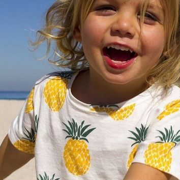 LMFON1O Day First Kids Pineapple Printed Short Sleeve T Shirt
