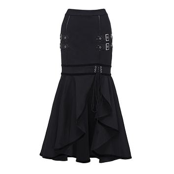 Sisjuly 2018 Gothic Sequined Lace Up Black Maxi Mermaid Skirt Women Asymmetric Split Autumn Winter Skirt Long Ruffled Skirts