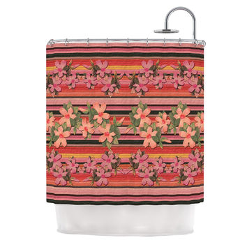"Nina May ""Peach Hibiscus Stripe"" Pink Orange Shower Curtain"