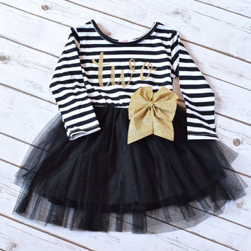 Black and Gold Tutu, Cake Smash Outfit Girl, Baby Girl 1st Birthday Outfit, 2nd Birthday Girl, Gold Glitter Bow, Gold Tutu Dress, Tutu Dress