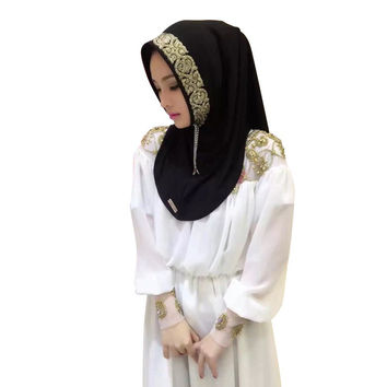 New Women Vintage Muslim Golden Fringe Embroidery Floral Caps Hijab Islamic Full Cover Scarf Hats Y03 SM6