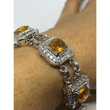 Handmade Vintage Genuine Orange Fire Opal Rhodium Finished 925 Sterling Silver Tennis Bracelet