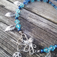 Octopus Necklace, Blue Beaded Necklace, Pentagram Necklace,Leaf Charm Necklace, Gypsy Jewelry, Boho Shaman Larp, Wiccan Pagan Jewelry
