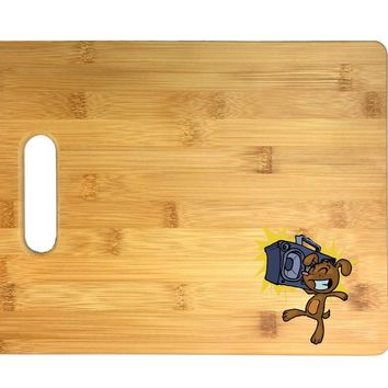 Happy Excitable Dog with a Boom Box 3D COLOR Printed Bamboo Cutting Board - Wedding, Housewarming, Anniversary, Birthday, Mother's Day, Gift