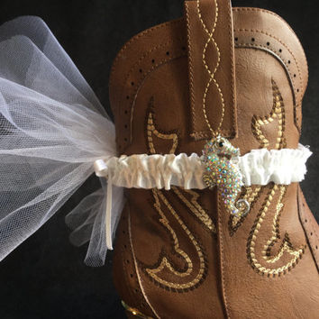 Boot garter cuff beach wedding white tulle crystal seahorse beach wedding boho shoe accessory