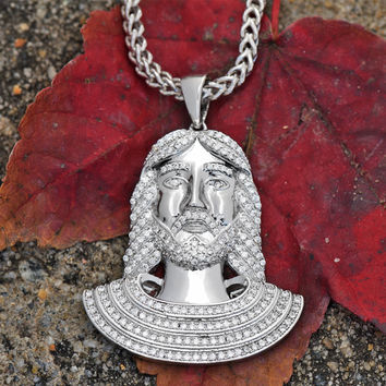 Jesus Piece Pendant With Franco Chain Lab Diamond 18K White Gold Tone