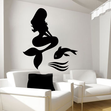 Mermaid Wall Decals Fish Decal Vinyl Home Decor Nursery Bedroom Stickers LM72