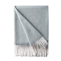 "Decorative Diamond Lattice Faux Cashmere Fringe Throw Blanket Lightweight Soft Cozy for Bed or Sofa Farmhouse Outdoor Throw Blankets, 50"" x 60"",Light Blue"