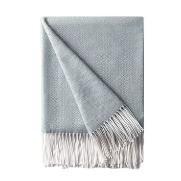 """Decorative Diamond Lattice Faux Cashmere Fringe Throw Blanket Lightweight Soft Cozy for Bed or Sofa Farmhouse Outdoor Throw Blankets, 50"""" x 60"""",Light Blue"""