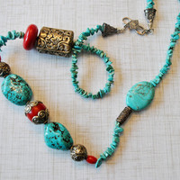 Turquoise and Red Southwestern necklace set with Tibetan Silver