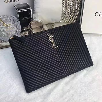 YSL SAINT LAURENT WOMEN'S NEW STYLE LEATHER ZIPPER HAND BAG