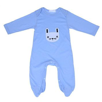 Baby Boys Girls Romper Cartoon Rabbit Pattern Long Sleeve Jumpsuit Outfit Infant Cotton Nightwear Clothing Kids Clothes