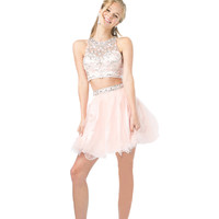 Homecoming Two Piece Set Prom Dress Short Cocktail Party