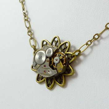 NeoVictorian SteamPunk Necklace Flower Filigree Pendant and Vintage Watch Movement by VictorianFolly