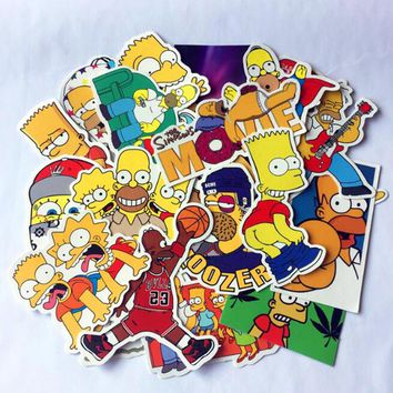 25PCS Cartoon anime Vinyl stickers Simpsons Street tide graffiti sticker Decals Car styling car sticker