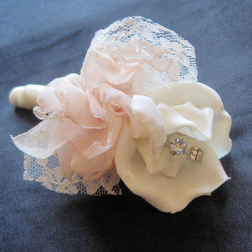 Vintage Inspired Fabric Flower Boutonniere  Groom, Groomsmen,  Usher, Father of the Bride in Ivory Champagne With Rhinestone Accent..Custom