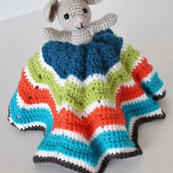 Crochet Cuddly Blanket with Stuffed Lil Mouse - Kids Toy