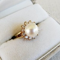 14k Yellow Gold 9mm Pearl Diamond Ring Size 6.5  .36 Ct Halo Signed Ring