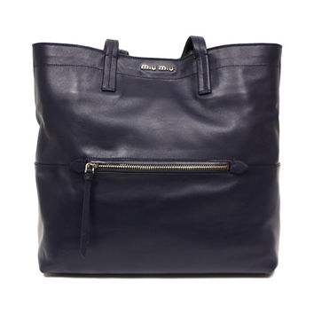 Miu Miu RR1820 Vitello Soft Navy Leather Shopping Tote Bag