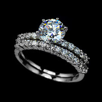 1.75ct Swiss Cubic Zirconia Diamond Two Band Wedding Ring