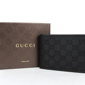 New Gucci Men's Black Guccissima Nylon Wallet w/Coin Pocket 143384 1000