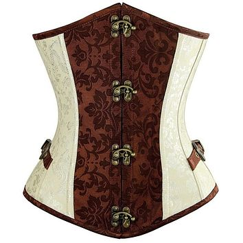 Brown Lvory Corset  Under Bust with  Gothic Buckle