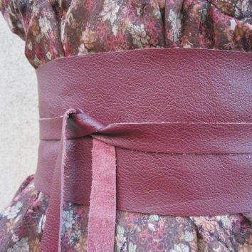 Wine  Dark Red Leather Obi Belt by TheButterfliesShop on Etsy