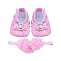 Pink Newborn Baby Girl Shoes Headband Set