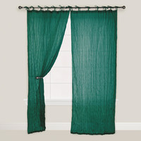 Storm Green Crinkle Voile Curtain - World Market