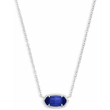 Kendra Scott: Elisa Silver Pendant Necklace In Cobalt Cats Eye