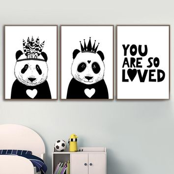 Black White India Panda Crown Wall Art Canvas Posters And Prints Canvas Painting Animals Wall Pictures Kids Room Baby Wall Decor