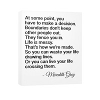 Vertical Canvas, Meredith Grey phrases, Grey's Anatomy Quotes, Tv series Sayings