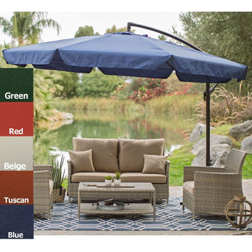 Red 11 Ft. Offset Patio Umbrella Gazebo With Canopy Base U0026 Detachable  Mosquito Netting