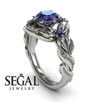 Engagement ring 14K White Gold Flowers Vintage Art Deco Ring Sapphire With White diamond - Isabelle