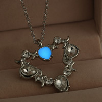 Detailed LOA Glow Heart Gem Pendant Necklace
