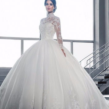 Lace Ball Gown Vestido De Noiva Muslim Wedding Dress 2016 Long Sleeve High Neck Beaded Tulle Vintage Bride Abiti Da Sposa