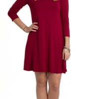 Piko Dresses Criss Cross Three Quarter Sleeve Swing Dress with Pockets in Wine GLD181143-WINE
