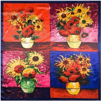 90cm*90cm European Van Gogh Four Sunflowers Printed Oil Painting Style Women Silk Satin Large Square Scarf