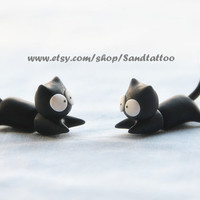 1 Pair Of Cute Lovey Black Cat Earrings, Chomper Earring, Witch jewelry, Unique Earrings,