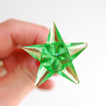 FREE SHIPPING Vintage Antique Star Emerald Green Glass Drawer Pull, Single, E1075