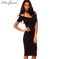 Nice-forever Casual Office Lady off Shoulder Solid Work Sexy V neck knee-length Zipper Tunic Business Pencil Bodycon Dress 378